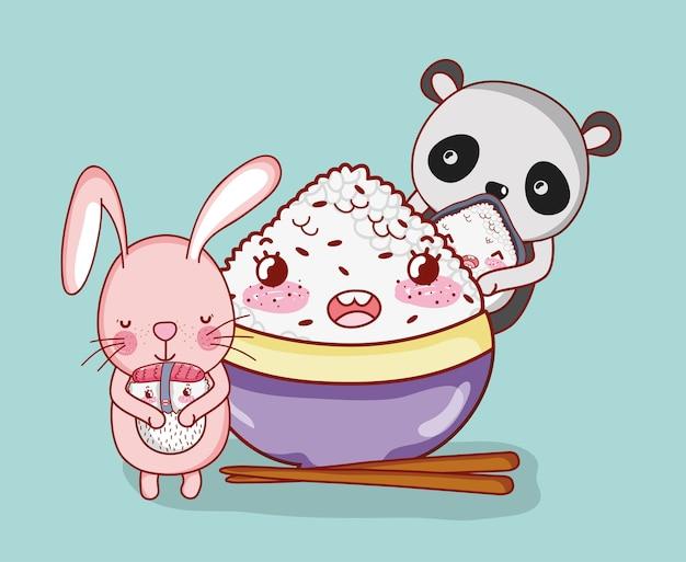Kawaii tiere und japanisches essen