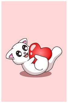 Kawaii und lustige katze, die mit einer großen herz-valentinsgruß-karikaturillustration rollt
