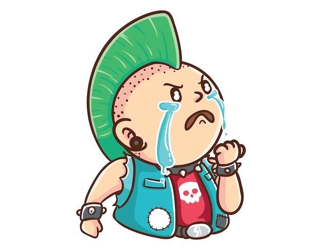 Kawaii und lustige punk man cry entschlossene maskottchen-charakter-illustration