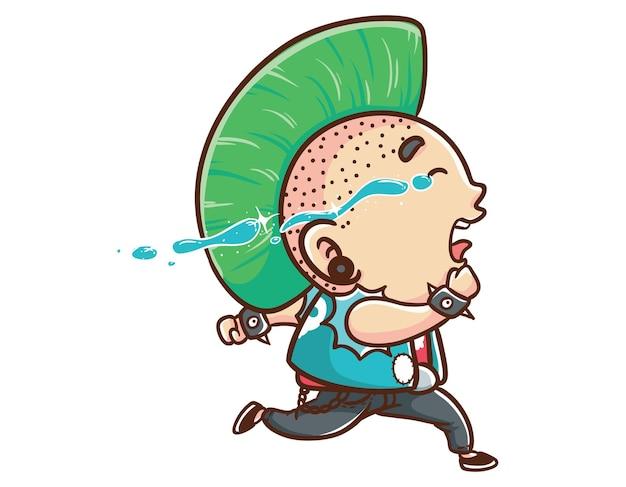 Kawaii und lustige punk man cry run maskottchen charakter illustration hand gezeichnete cartoon färbung stil