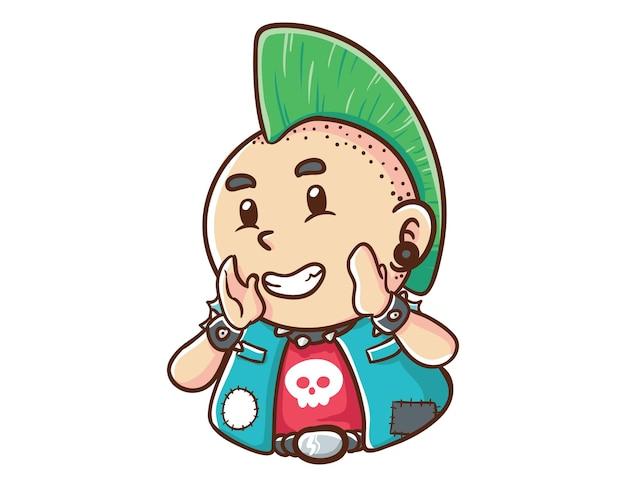 Kawaii und lustige punk man shout maskottchen charakter illustration hand gezeichnete cartoon färbung stil