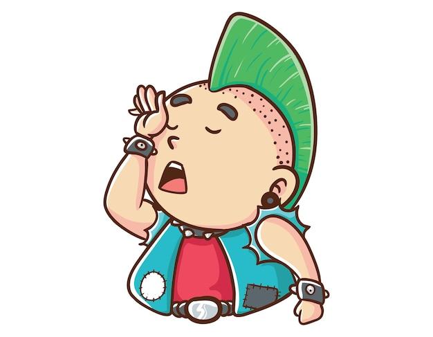 Kawaii und lustige punk-mann müde maskottchen charakter illustration hand gezeichnete cartoon färbung stil