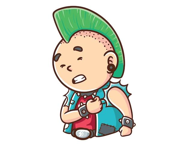 Kawaii und lustige punk-mann verletzt maskottchen charakter illustration hand gezeichnete cartoon färbung stil
