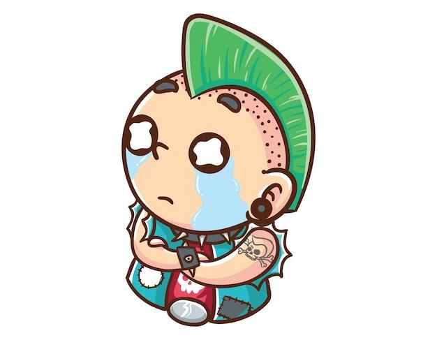 Kawaii und lustige punkman cry sad mascot character illustration hand gezeichnete cartoon färbung stil