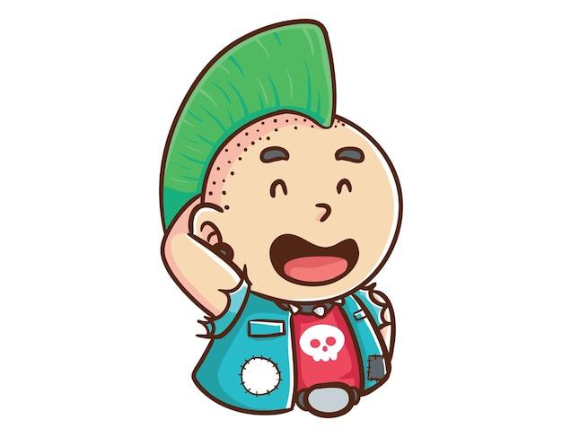 Kawaii und lustiger punk-mann fühlen sich leid schüchterne maskottchen charakter illustration hand gezeichnete cartoon färbung stil