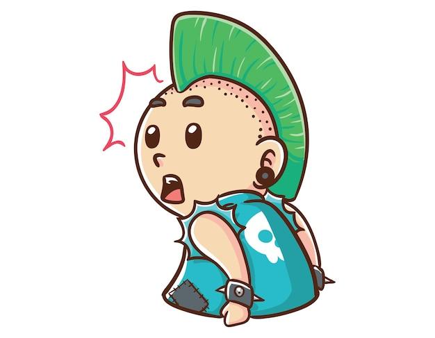 Kawaii und lustiger punk-mann überraschten maskottchen-charakter-illustrationshand gezeichneten cartoon-farbstil