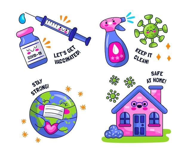 Kawaii virus sticker sammlung stickers