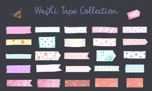 Kawaii washi tape hand in pastellfarbe gezeichnet