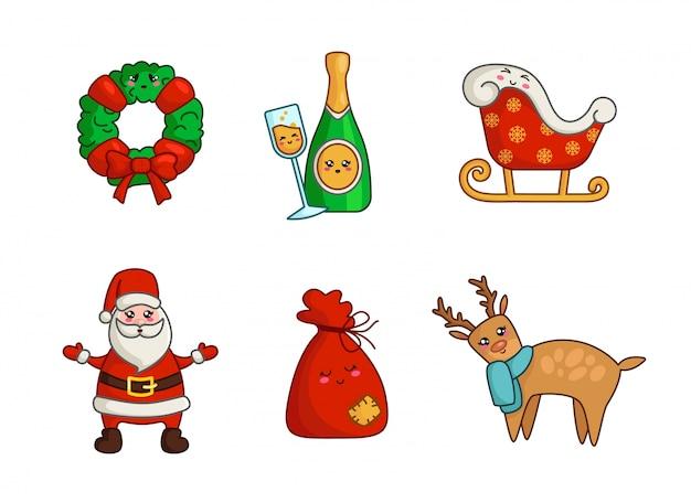Kawaii weihnachtsfiguren - set aus kaktus, rentier, geschenktüte, kranz, weihnachtsschlitten, kranz