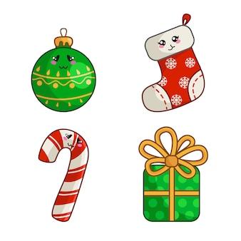 Kawaii-weihnachtssatz für dekoration des neuen jahres, nette socke, strumpf, geschenkbox mit bogen, süße zuckerstange, ball für den weihnachtsbaum - lokalisiert