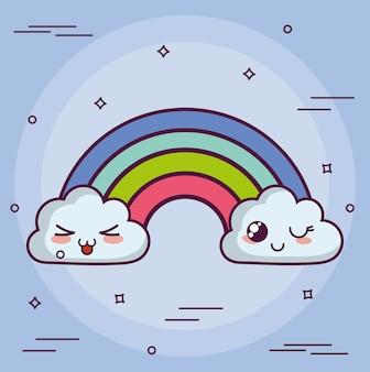 Kawaii wolke mit einer regenbogenikone über purpurrotem hintergrund