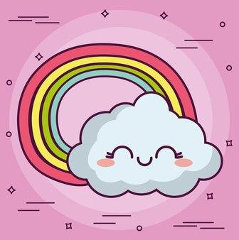 Kawaii wolke mit einer regenbogenikone