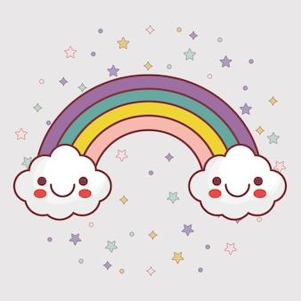 Kawaii wolken und regenbogenikone