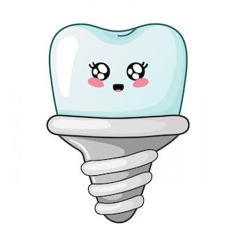 Kawaii zahn der karikatur der zahnpflege des netten charakters des zahnimplantats