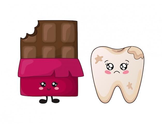Kawaii zahn der karikatur und netter charakter der schokolade