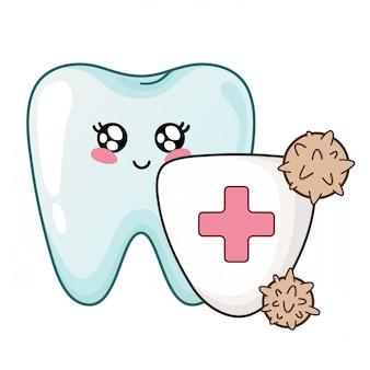 Kawaii zahn mit schild ist vor bakterien geschützt