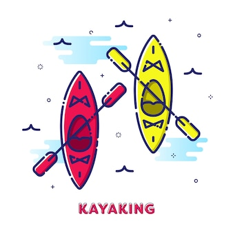 Kayaking sport illustration