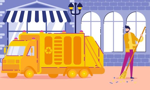 Kehrmaschine bei der arbeit, arbeiter-karikatur des öffentlichen sektors.