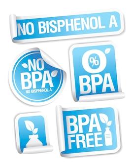 Kein bpa-kein bisphenol-aufkleber-set für kunststoffartikel