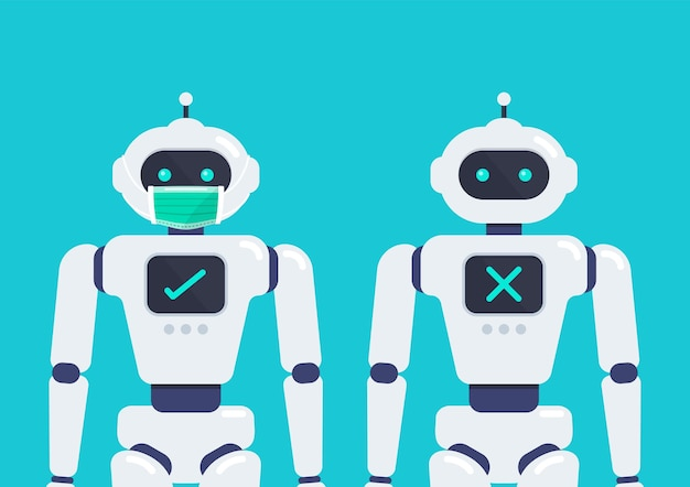 Kein eintritt ohne gesichtsmaske android-roboter mit einer medizinischen schutzmaske zur vorbeugung von viren covid19 vector illustration