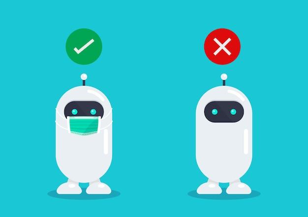 Kein eintritt ohne gesichtsmaske roboter mit medizinischer schutzmaske zur vorbeugung des virus covid19 vector illustration
