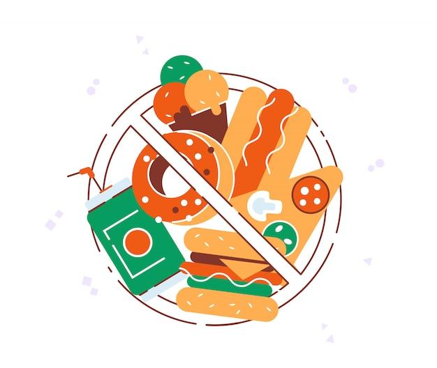 Kein fast food. fast-food-produkte mit verbotsschild. hamburger, soda, pizza, donut.