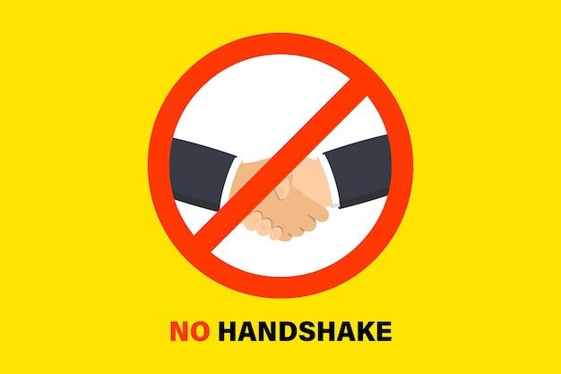 Kein händedruck. zeichen, das händeschütteln verbietet. coronavirus prävention. bakterien beim händeschütteln. warnung vor der verbreitung des schmutzigen händedrucks. 2019-ncov, wuhan-coronavirus-prävention