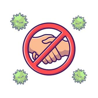Kein handschlag stoppschild illustration.