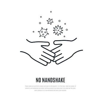 Kein handshake-liniensymbol isoliert auf weißem hintergrund