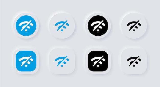 Kein internet-signalsymbol mit neumorphismus-schaltflächen oder keine wlan-verbindung neumorphic ui ux
