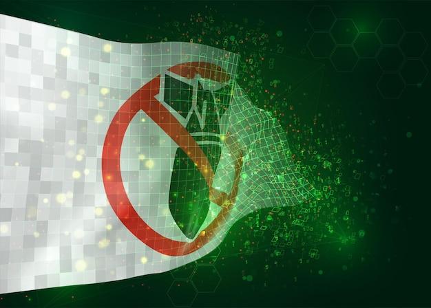 Kein krieg, vektor-3d-flagge auf grünem hintergrund mit polygonen und datennummern