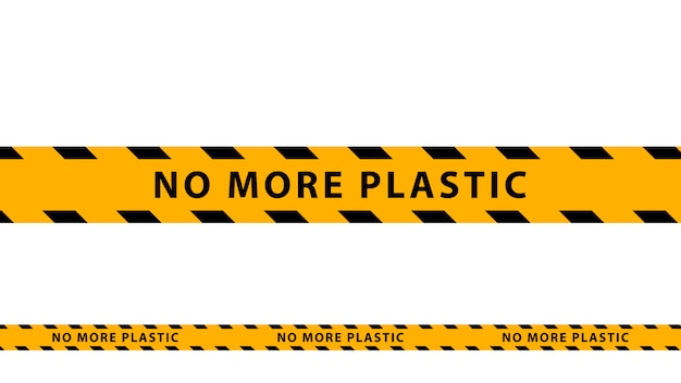 Kein plastik mehr, gelb-schwarzes warnband auf weißem hintergrund.