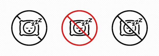 Kein schlafsymbol eingestellt. kein kissensymbol. kein schlafendes zeichen in schwarz. für grafikdesign, logo, web, ui, mobile app. vektor auf isoliertem transparentem hintergrund. eps 10