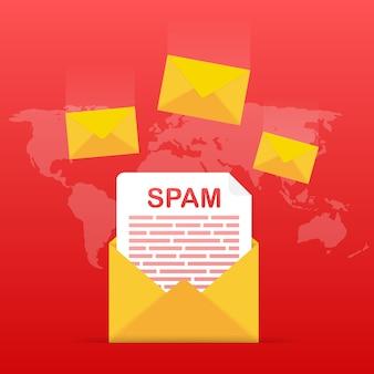 Kein spam. spam-e-mail-warnung. konzept von viren, piraterie, hacking und sicherheit. umschlag mit spam