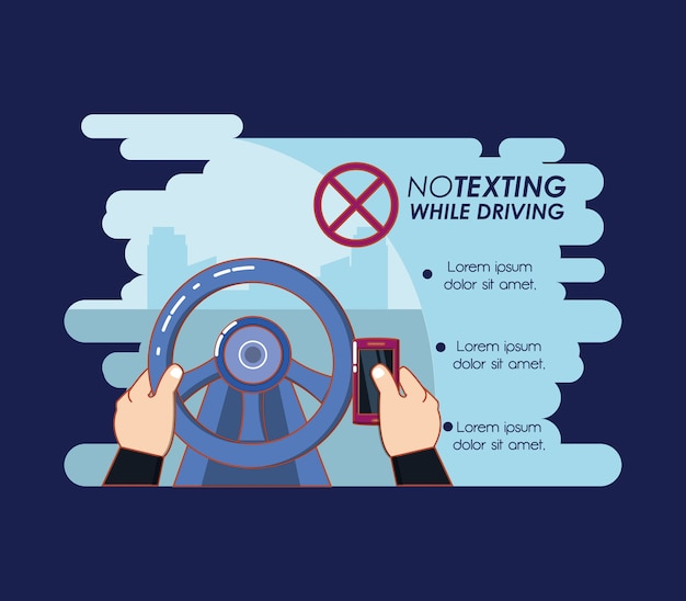 Kein texting beim fahren des kampagnenvektor-illustrationsdesigns