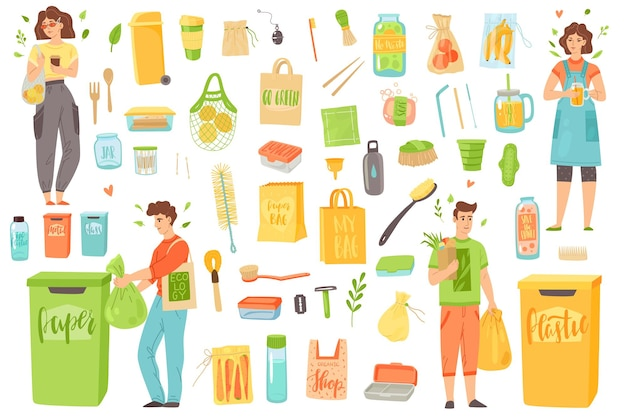 Kein verlust. öko-wiederverwendbare gegenstände und menschen trennen recycling-müll. verwenden sie papier- und textilbeutel, glasflaschen-holzzahnbürste, bambus-badewerkzeuge, ökologisches küchenvektor-flachset