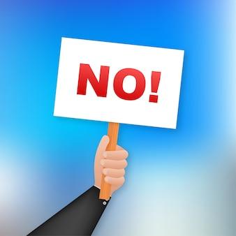 Kein zeichen. karikaturplakat mit hand, das plakat für hält. , plakatwand. illustration