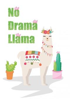 Keine drama-lama-grafik mit blumenkranz und kaktus