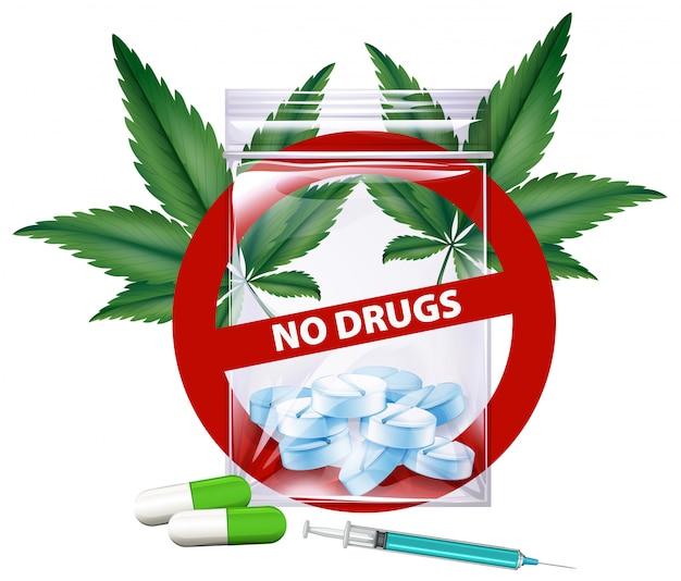 Keine drogen unterzeichnen mit marihuanablättern