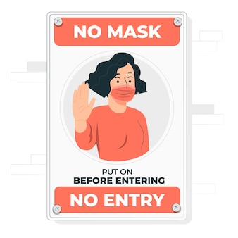 Keine gesichtsmaske, keine abbildung des eintrittskonzepts
