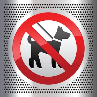 Keine hunde unterschreiben auf einem metallisch perforierten edelstahlblech