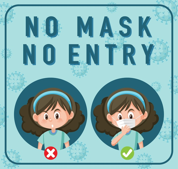 Keine maske, kein eintrittsschild mit zeichentrickfigur