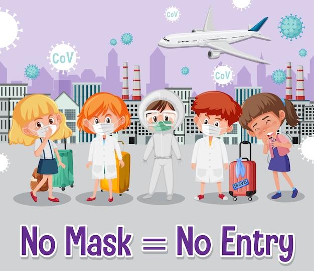 Keine maske, kein eintrittsschild