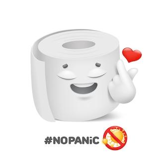 Keine panik. rolle toilettenpapier emoji charakter. coronavirus-schutz. cartoon-stil