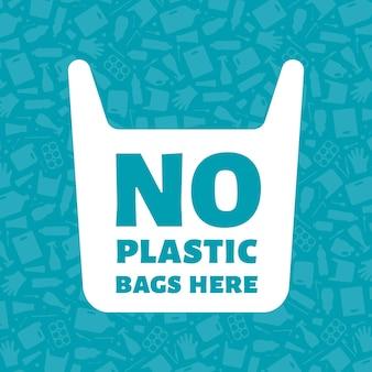Keine plastiktüten hier konzeptvektorillustration einweg-plastiktüte mit schild auf müll