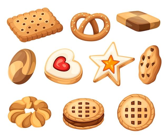 Keks- und keksikonensammlung. bunte flache kekse gesetzt. kreis, stern, sandwich, andere form. illustration lokalisiert auf weißem hintergrund.