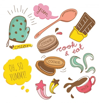 Keks und schokoladengekritzel