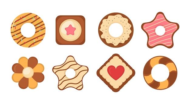 Keksbrotkekse symbolsatz. big set verschiedene bunte gebäckkeks. satz verschiedene schokoladen- und keks-chip-kekse, lebkuchen und waffel lokalisiert auf weißem hintergrund. .