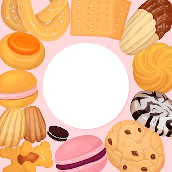 Kekse gebäckmuster illustration. süße keks donut, köstliche süße leckerei, für süßigkeiten