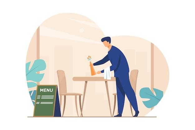Kellner bereitet café für die eröffnung vor. restaurantarbeiter-reinigungstabelle nach kunden, die flache vektorillustration verlassen. catering, service, arbeit